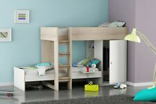 Dylan Unique L Shaped Bunk Bed Frame in Acacia White Childrens Shelving Wardrobe