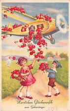 Kinder im Flugzeug Geburtstags Postkarte
