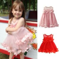 Toddler Baby Girls Cute Sleeveless Solid Tulle Skirt Floral Dress Princess Dress