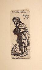 GUÉRARD : Un gueux de Rembrandt, par X..., Eau-forte originale, 1876