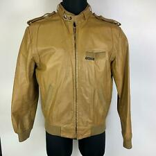 Members Only Tan Racing Lined Knitted Shoulder Strap On Leather Jacket Mens 42