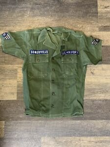 Vietnam Era USAF Air Force OD Green Military Utility Shirt