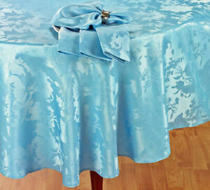 """Spring & Easter Decor Silky Damask Floral Tablecloth  60""""x 84"""" OVAL Blue"""