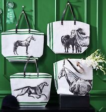 Horse Tote Bag Four Designs Jute Bag With Leather Handle
