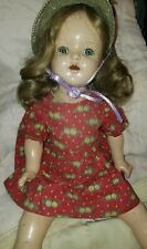 """Antique 22"""" Composition Doll w/Tin Eyes~ fixer upper, wig, hat,tlc SORE FEET"""