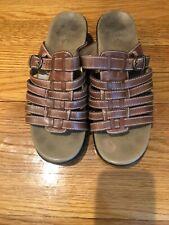 DANSKO Marion Brown Leather Slides Size 38 EU 7.5 8 US