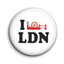 I Love London Skyline Souvenir Funny Button Pin Badge - Novelty Gift 38mm/1.5""