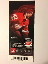 DETROIT RED WINGS VS WINNIPEG JETS DECEMBER 5, 2017 TICKET STUB
