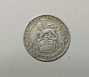 GREAT BRITAIN : SILVER SHILLING  1902  0.925 SILVER.  KM 800