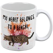 My Heart Belongs Bengal Cat White All Over Coffee Mug