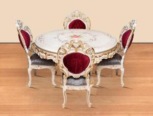 TABLE SET - BAROQUE SILIK STYLE ROYAL TABLE SET 4 CHAIRS + TABLE - #MB29