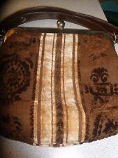Vintage Cara Carpet Tapestry Hand Bag Purse Brown and Tan