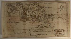 EAST INDIES & AUSTRALIA 1712 WILLIAM DAMPIER UNUSUAL ANTIQUE COPPER ENGRAVED MAP