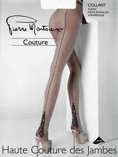 Pierre Mantoux COUTURE COLLANT Strumpfhose mit Naht  S M L  *haut / schwarz* NEU