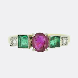 Ruby Emerald and Diamond Ring 18ct Yellow Gold