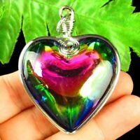45x45x16mm Wrapped Rainbow Titanium Crystal Heart Pendant Bead S24980