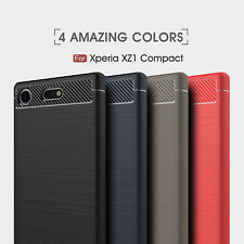 For Sony Xperia XZ1 Compact Shockproof Armor Carbon Fiber Hybrid Brush Case