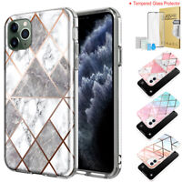 For iPhone 11 Pro Max Case Marble Shockproof Heavy Duty Cover w/Glass Protector
