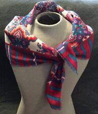 Vintage GLENTEY Red/Purple/Pink/Blue Floral Square Scarf 100% Polyester 34 x 36