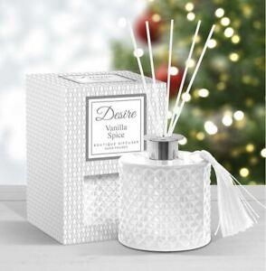 Desire Vanilla Spice Boutique Reed Diffuser White Glass Jar Tassel 100ml Xmas