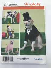 Simplicity  2519 Large Size Dog Costumes  Sewing Pattern Bunny, Tux, Clown