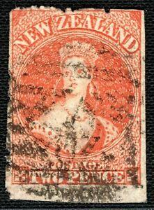 NEW ZEALAND QV Chalon SG.133var 2d Orange ERROR MISPERF (1872) Used RARE GBLUE1