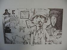 "Art print Charles Bragg black Lithograph gp ""General Practioner"" Duotone Signed"
