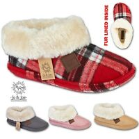 Ladies Slippers Womens Ankle Winter Warm Fur Boots Booties Size UK 3 4 5 6 7 8