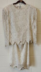 Vtg Lawrence Kazar Beaded Wedding Dress. Size XL. White. Never Worn with Tags