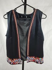 Black Velvet Vest No Tags Suit 10 Embroidered Boho Hippie Festival Waistcoat