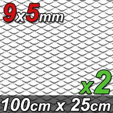 2x ALU GITTER RENNGITTER WABENGITTER RACEGITTER 9x5mm 100x25cm SILBER