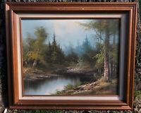 Vintage Landscape Oil Painting Vintage Wood Frame Forest Signed G. Willox 29x25