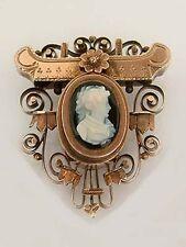 Brosche Steinkamee auf Onyxplatte um 1870 Rosegold 585 Gold antik