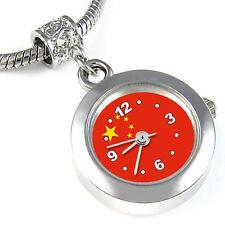 China Flag Silver European Spacer Charm Bead Quartz Watch For Bracelet EBA238