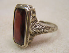Vintage 14k Solid White Gold Faceted Garnet Filigree Ring size 6.5 JCRS Pat Pend