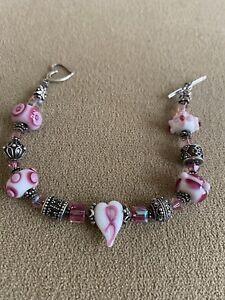 Swarovski Crystal Toggle Breast Cancer Awareness Bracelet