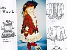 "21-22""ANTIQUE GERMAN DOLL DRESS&JACKET&UNDIES&SHOES&HAT&PURSE PATTERN FRENCH"
