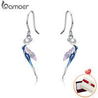 BAMOER .925 Sterling Silver Hoop Earrings Enamel Fairy & Pearl For Women Jewelry