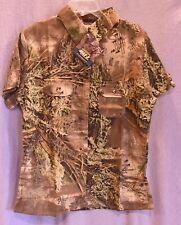 SHE Safari Womens Tailored Short Sleeve Camo Button Down Shirt size large NWT