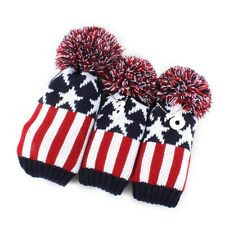 Classic White Red Star Knit Pom Golf Club Vintage Headcover Head Covers 3pcs/set