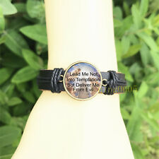 mm Glass Cabochon Leather Charm Bracelet Lords Prayer Stairway to Heaven 20