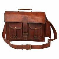 Men's Genuine Dark Brown Leather Vintage Laptop Messenger Briefcase Bag Satchel