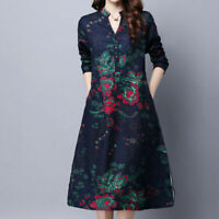 Retro Vintage Women Long Sleeve Flower Printed Dress Ethnic Loose Chinese Style