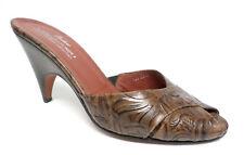 DONALD PLINER Size 9 Brown Tooled Leather Slide Sandals Pumps Heels or Shoes
