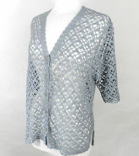 Vintage Elegant Mid Grey Short Sleeved Crochet Cardigan   Size M  Boho Festival