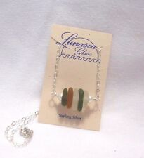 LUNASEA TREASURES SEA GLASS OLIVE GREEN HONEY WHITE STERLING SILVER NECKLACE NEW