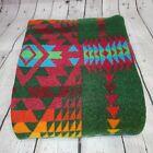Pendleton Wool Blanket Aztec Tribal Print 44'x71'  Green Multi-Colored