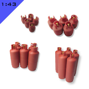 5 x 3D printed LPG BOTTLES GAS CYLINDERS 1:43, O Model Miniature Layout Scenery