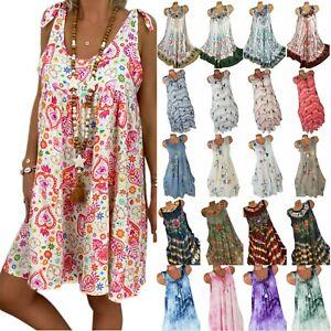 BOHO Women Floral Printed Loose Tank Dress Summer Beach Casual Tunic Sundress
