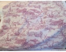 "The Hunt Stag Scene Toile De Jouy Ready Made Curtains 50"" W x 90"" D In Raspberry"